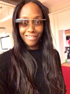 Arina with Google glasses